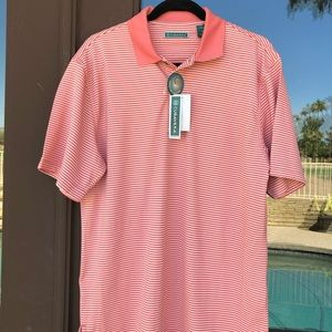 Cubavera Pink/Salmon and White Striped Polo M